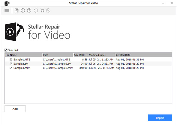 Select Corrupt or Damaged Video files for Repairing